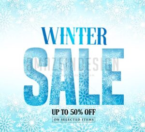 Winter Sale Text with Snow Pattern & White Snowflakes - Amazeindesign