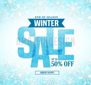 Winter Sale Vector Banner Design With Blue Sale Text - Amazeindesign