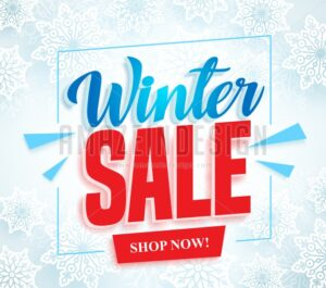 Winter Sale Vector Banner With 3D Red Sale Text - Amazeindesign
