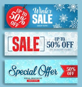 Winter sale vector banner set with sale discount texts - Amazeindesign