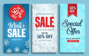 Winter sale vector poster design set with sale text - Amazeindesign