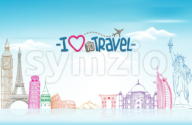 Travel and Tourism Background with Famous World Landmarks in Sketch Drawing Elements Vector Illustration. This vector travel illustration was design with 3D realistic ...
