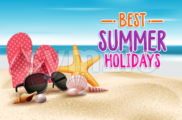 Best Summer Holidays Title Words in Beach Seashore with Summer Items in the Sand Vector Illustration. This vector summer illustration was design ...