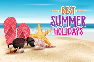 Vector Summer Holidays Title Words in Beach Stock Vector