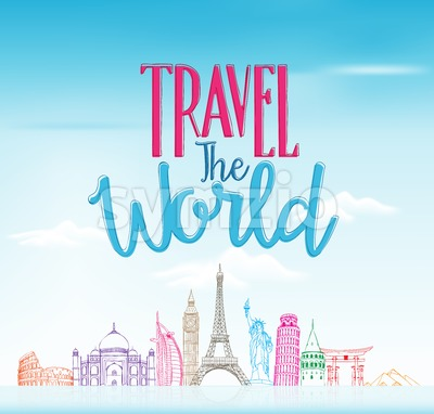 Travel The World Design Background in Vector Stock Vector