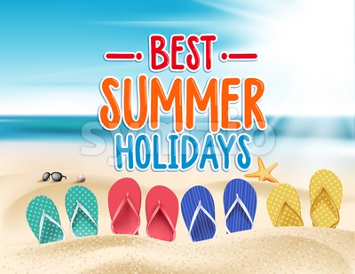 Vector Best Summer Holidays Title Words Stock Vector