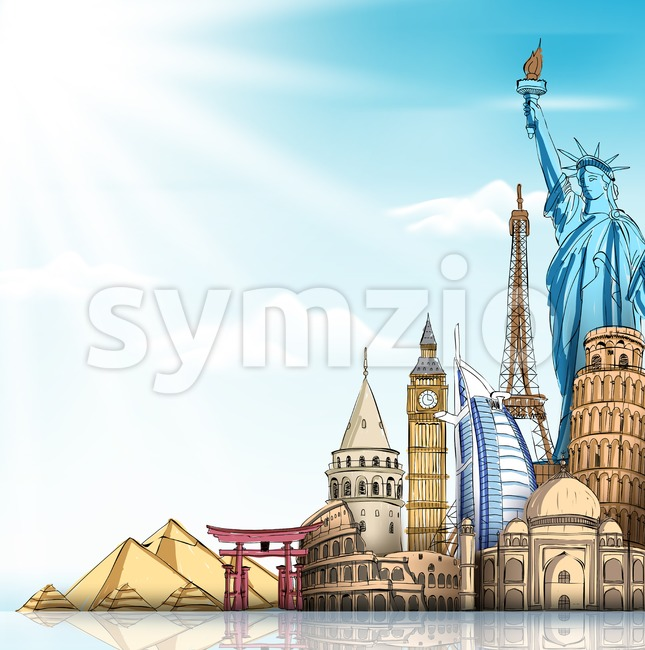 Travel and Tourism Background with Famous World Landmarks in 3d Realistic and Sketch Drawing Elements Vector Illustration. This vector travel illustration was design ...