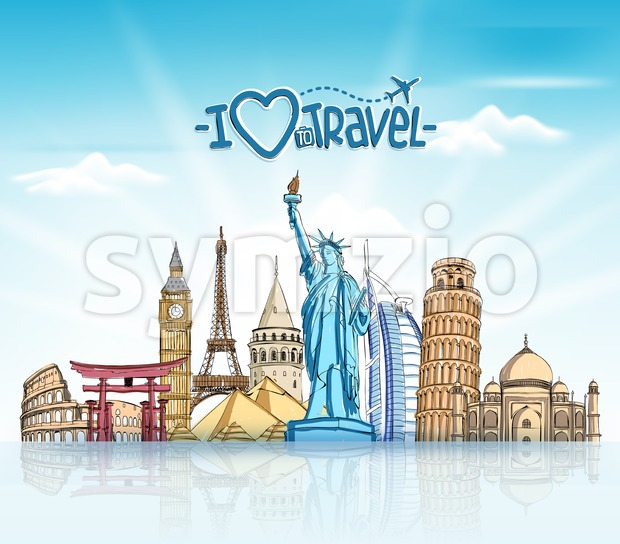 Travel and Tourism Background with Famous World Landmarks in Sketch Drawing Elements vector Illustration. This vector travel illustration was design with 3D realistic looks ...