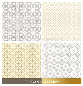 Set of Vector Elegant Arabic Seamless Patterns Stock Vector