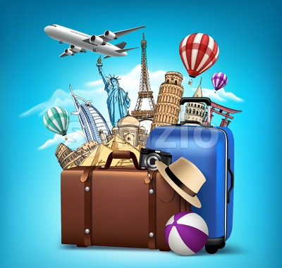 Travel Background with Famous Landmarks Vector Stock Vector