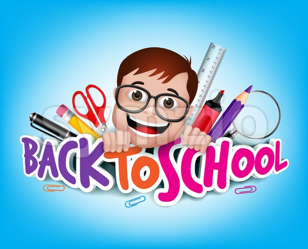 Back to School Title with Nerd Student Stock Vector