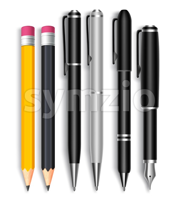 3D Pencils and Elegant Black Ball Pens Vector Stock Vector