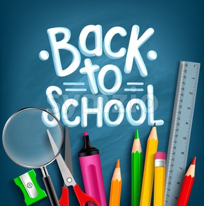 Back to School Materials Vector Illustration Stock Vector