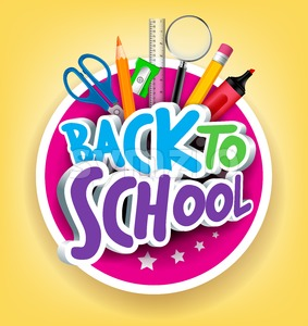 Colorful Vector 3D Back to School Title Stock Vector