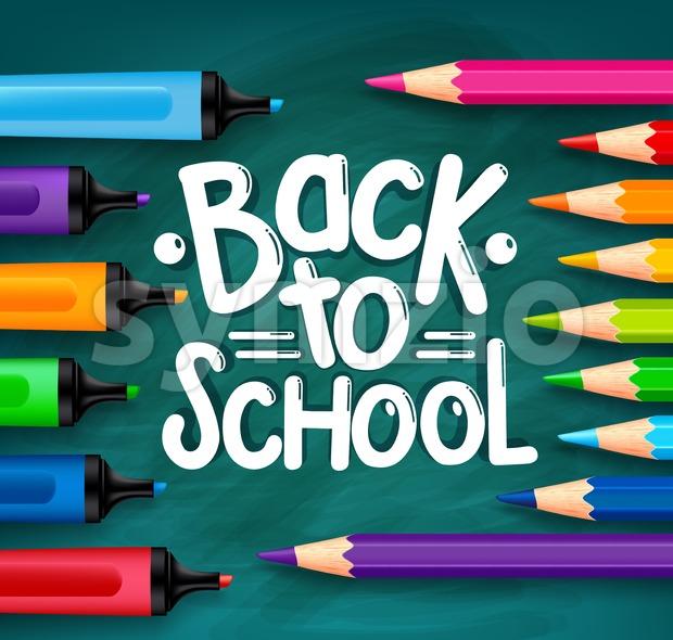 Back to School Chalkboard Vector Illustration Stock Vector