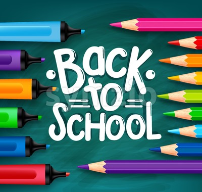 Back to School Chalkboard Vector Illustration Stock Vector
