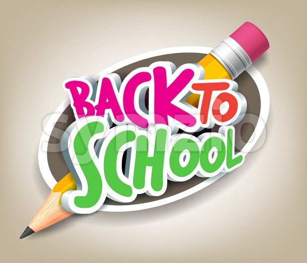 Colorful 3D Back to School Pencil with Title Texts in a Circle for Poster Design in Colorful Background Vector Illustration.This ...