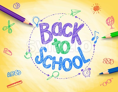 Back to School Doodle by Vector Pencils Stock Vector