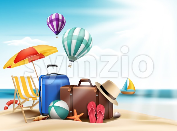 3D Realistic Summer Travel Vacation Design in a Blue Horizon and Sun Rays with Editable Beach Elements vector Illustration. This vector ...