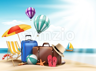 3D Vector Summer Travel Vacation Design Stock Vector