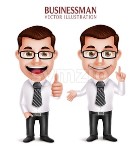 3D Vector Professional Business Man Character Stock Vector