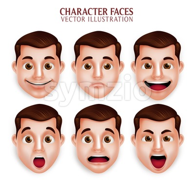 Vector Character Man Facial Expressions Stock Vector