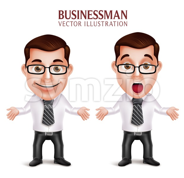 Vector Character Shocked Business Man Stock Vector