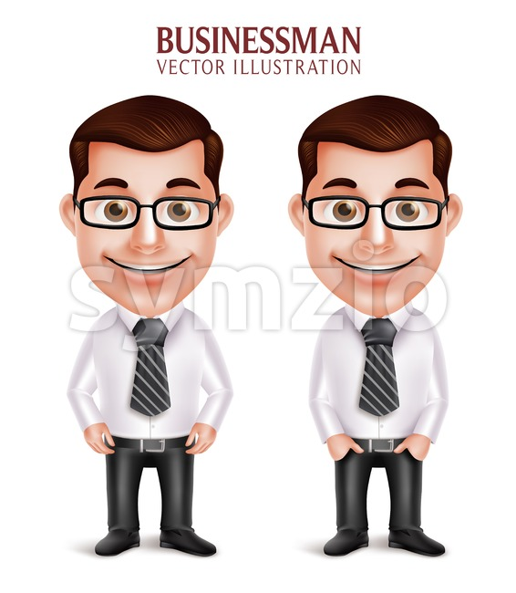 Happy Smiling Vector Business Man Character Stock Vector