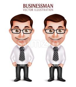 Happy Smiling Vector Business Man Character Stock Vector
