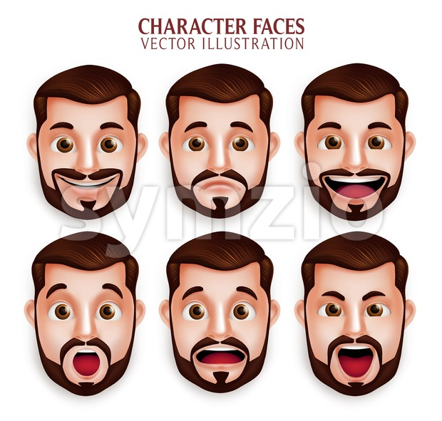 Facial Expression Vector Set of Man Head Stock Vector