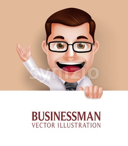 Vector Business Man Character Holding Paper Stock Vector