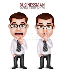 Business Man Character in Silent Gesture Vector Stock Vector