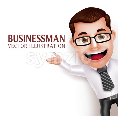 Business Man Character Waving Hand Vector Stock Vector