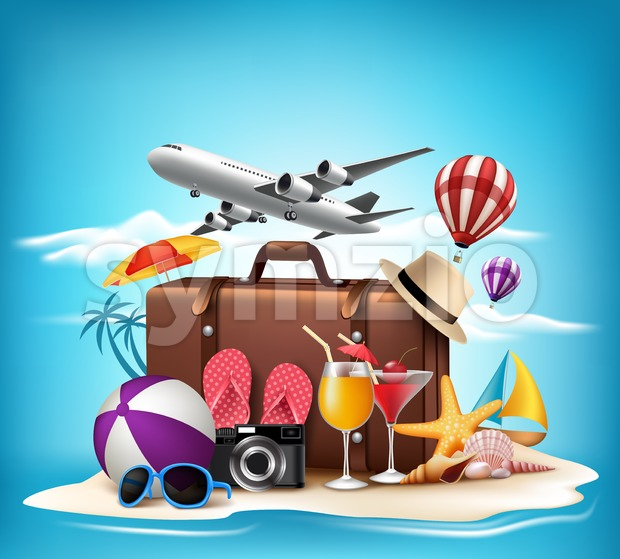 Summer Vacation Design 3D Vector for Travel Stock Vector