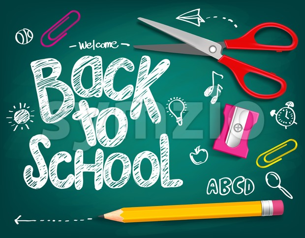 Welcome Back to School Title Vector Illustration Stock Vector