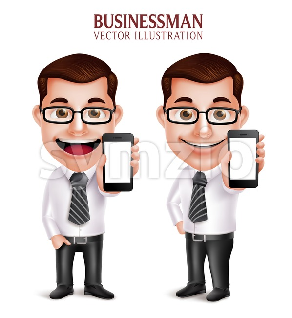 Vector Character Holding Mobile Phone Business Man Stock Vector
