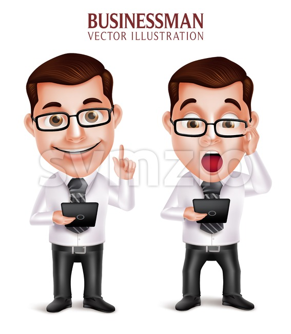 3D Realistic Professional Business Man Vector Character Holding Mobile Tablet Shocked and Speaking Isolated in White Background in vector illustration. This handsome ...