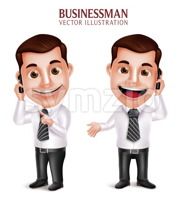 Vector Character Calling Mobile Phone Businessman Stock Vector