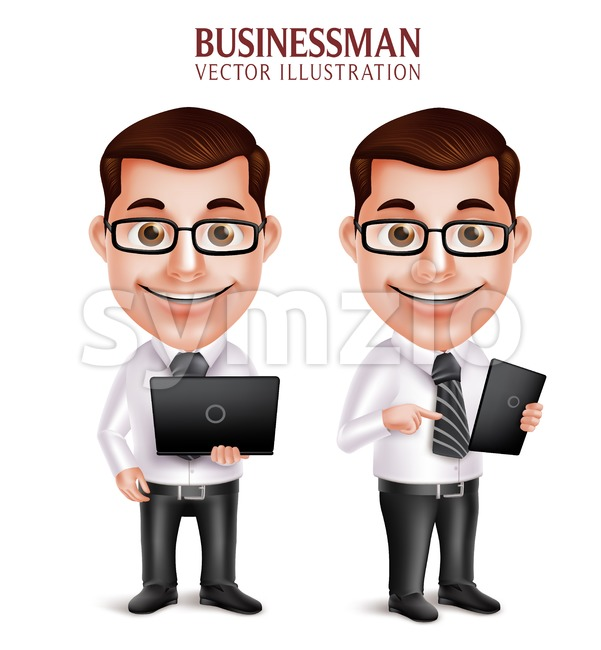 3D Realistic Professional Business Man Vector Character Holding Laptop and Mobile Tablet Isolated in White Background in vector illustration. This handsome businessman ...