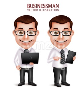 Vector Character Holding Laptop Businessman Stock Vector