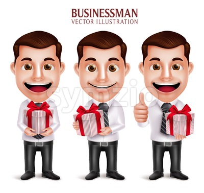 Business Man Vector Character Holding Red Gift Box Stock Vector