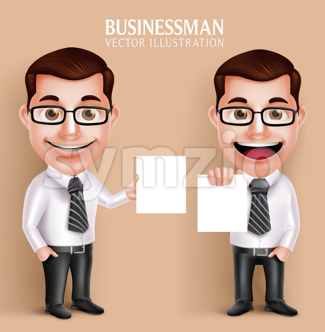 Business Man Vector Character Holding White Paper Stock Vector
