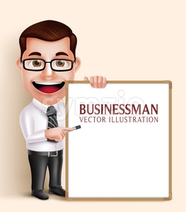 Business Man Vector Character Holding White Board Stock Vector