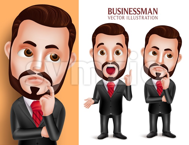 Business Man Vector Character Thinking Idea Stock Vector