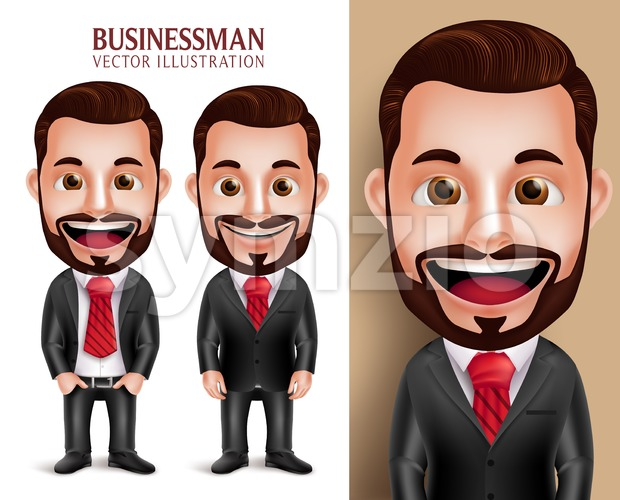 Business Man Vector Character Happy Attractive Stock Vector