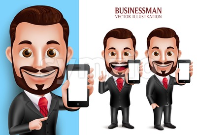 Business Man Vector Character Holding Mobile Phone Stock Vector