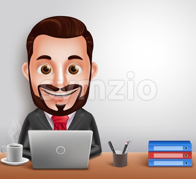 Vector Character Busy Working in Office Desk Stock Vector