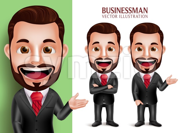Businessman Vector Character Smiling Stock Vector