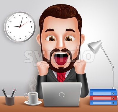 Vector Character Shocked and Surprised Expression Stock Vector