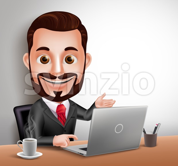 3D Realistic Professional Business Man Vector Character Happy Working and Sitting in Office Desk with Laptop Computer in vector illustration. This handsome businessman ...